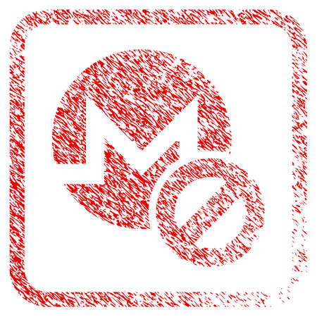 Forbidden Monero rubber seal stamp imitation. Icon raster symbol with grunge design and dust texture in rounded rectangle. Scratched red emblem of forbidden monero.