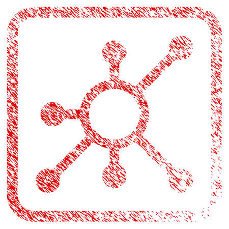 Network Node rubber seal stamp watermark. Icon raster symbol with grunge design and dust texture inside rounded rectangle. Scratched red stamp imitation of network node.