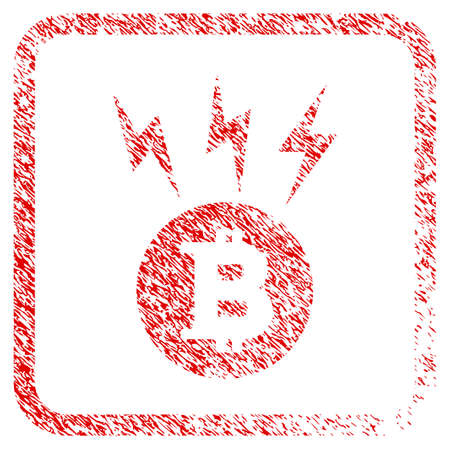Bitcoin Lightnings rubber seal stamp watermark. Icon raster symbol with grunge design and dirty texture inside rounded square frame. Scratched red emblem of bitcoin lightnings. Stock Photo