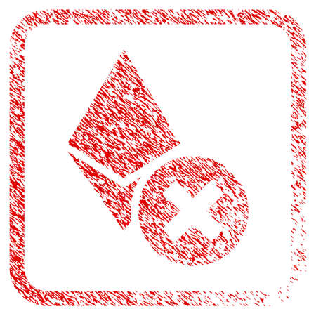 Wrong Ethereum Crystal rubber seal stamp watermark. Icon raster symbol with grunge design and unclean texture inside rounded square frame. Scratched red emblem of wrong ethereum crystal.