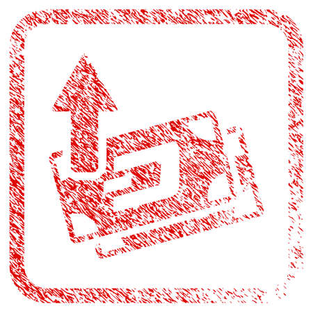 Dash Banknotes Cashout rubber seal stamp imitation. Icon raster symbol with grunge design and dust texture inside rounded rectangle. Scratched red sign of dash banknotes cashout.