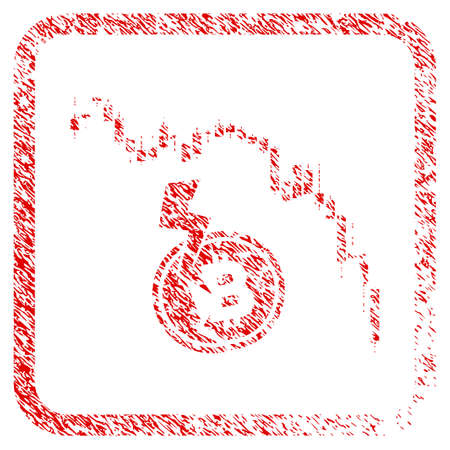 Candlestick Chart Bitcoin Crash rubber seal stamp imitation. Icon raster symbol with grunge design and dirty texture in rounded squared frame. Scratched red sticker of Candlestick chart bitcoin crash.