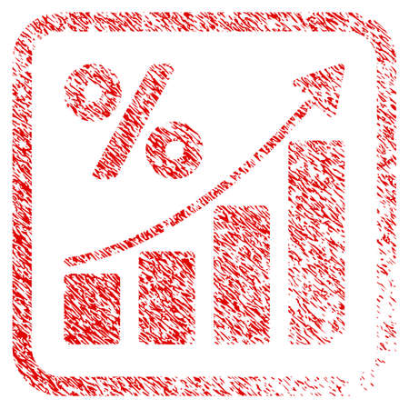 Percent Growing Graph Trend rubber seal stamp imitation. Icon raster symbol with grunge design and unclean texture in rounded square frame. Scratched red sticker of percent growing graph trend.