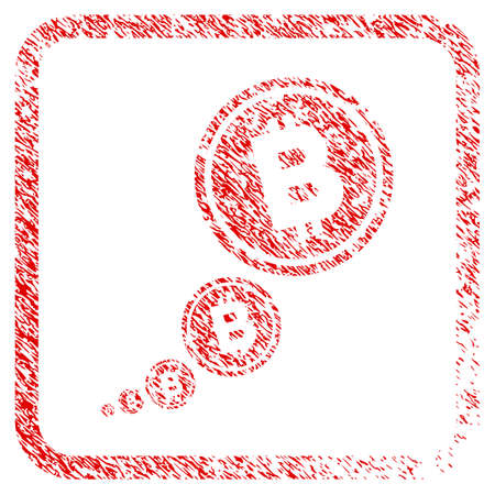 Bitcoin Inflation rubber seal stamp watermark. Icon raster symbol with grunge design and dirty texture in rounded squared frame. Scratched red stamp imitation of bitcoin inflation.