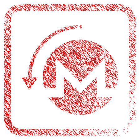 Refund Monero rubber seal stamp watermark. Icon raster symbol with grunge design and corrosion texture inside rounded frame. Scratched red stamp imitation of refund monero. Stock Photo