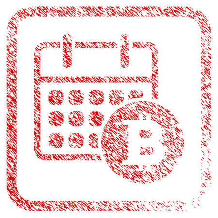 Bitcoin Calendar rubber seal stamp imitation. Icon raster symbol with grunge design and corrosion texture in rounded rectangle. Scratched red sign of bitcoin calendar.