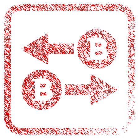 Bitcoin Transaction Arrows rubber seal stamp imitation. Icon raster symbol with grunge design and dirty texture in rounded squared frame. Scratched red stamp imitation of bitcoin transaction arrows.