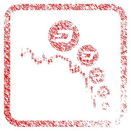 Candlestick Chart Dashcoin Deflation rubber seal stamp imitation. Icon raster symbol with grunge design and unclean texture in rounded square frame. Stock Photo