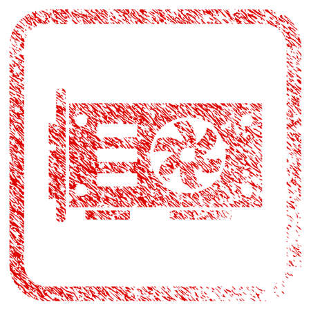 Video Graphics Gpu Card rubber seal stamp watermark. Icon raster symbol with grunge design and dust texture in rounded square frame. Scratched red sticker of video graphics gpu card. Stock Photo
