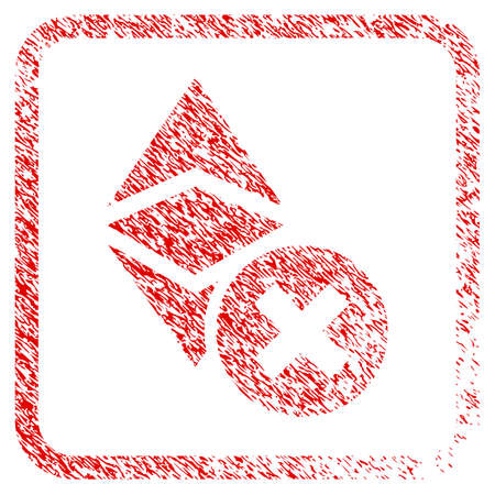 Wrong Ethereum Classic rubber seal stamp watermark. Icon raster symbol with grunge design and dirty texture in rounded square frame. Scratched red sign of wrong ethereum classic. Stock Photo