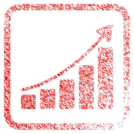 Growing Bar Chart Trend rubber seal stamp imitation. Icon raster symbol with grunge design and corrosion texture in rounded square. Scratched red sticker of growing bar chart trend. Stock Photo