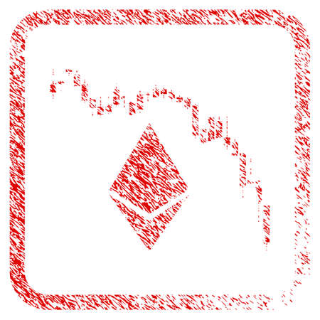 Ethereum Fall Chart rubber seal stamp imitation. Icon raster symbol with grunge design and unclean texture inside rounded frame. Scratched red sticker of ethereum fall chart.