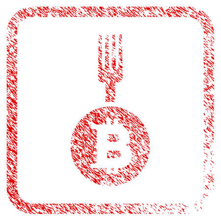 Bitcoin Fork rubber seal stamp imitation. Icon raster symbol with grunge design and dirty texture inside rounded squared frame. Scratched red sticker of bitcoin fork. Stock Photo