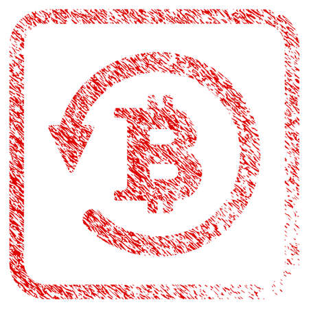 Bitcoin Chargeback rubber seal stamp watermark. Icon raster symbol with grunge design and corrosion texture inside rounded frame. Scratched red stamp imitation of bitcoin chargeback.