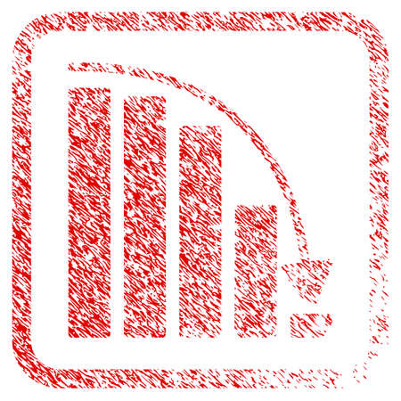Falling Acceleration Chart rubber seal stamp imitation. Icon raster symbol with grunge design and dirty texture inside rounded rectangle. Scratched red sticker of falling acceleration chart. 스톡 콘텐츠