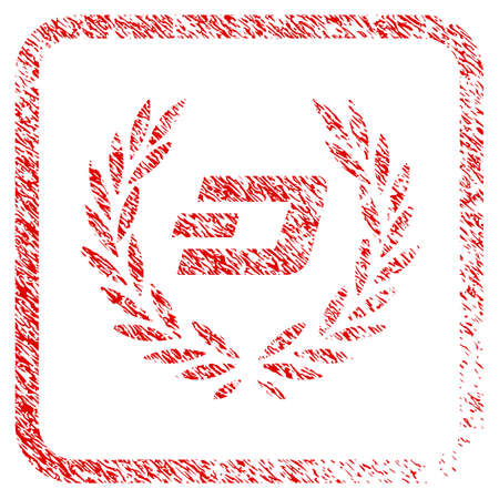 Dashcoin Laureal Wreath rubber seal stamp imitation. Icon raster symbol with grunge design and corrosion texture inside rounded rectangle. Scratched red stamp imitation of dashcoin laureal wreath. Stock Photo