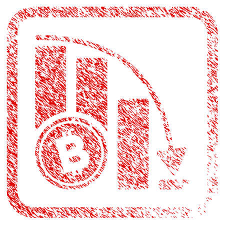 Bitcoin Falling Acceleration Chart rubber seal stamp watermark. Icon raster symbol with grunge design and dirty texture inside rounded squared frame. Reklamní fotografie