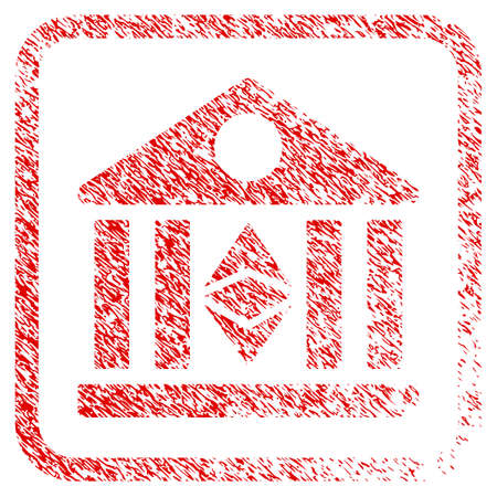 Classic Ethereum Bank rubber seal stamp watermark. Icon raster symbol with grunge design and dirty texture inside rounded rectangle. Scratched red stamp imitation of classic ethereum bank. Stock Photo
