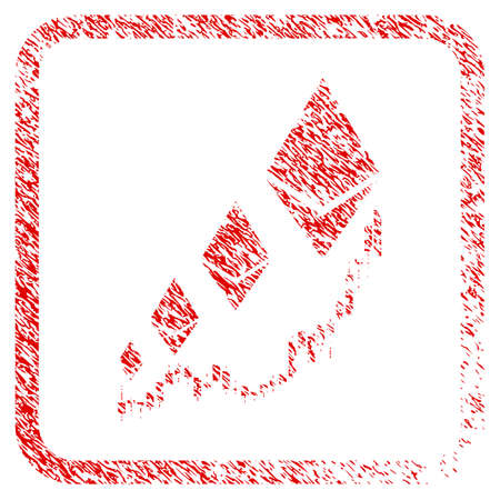 Ethereum Growth Chart rubber seal stamp imitation. Icon raster symbol with grunge design and dirty texture in rounded frame. Scratched red stamp imitation of ethereum growth chart.