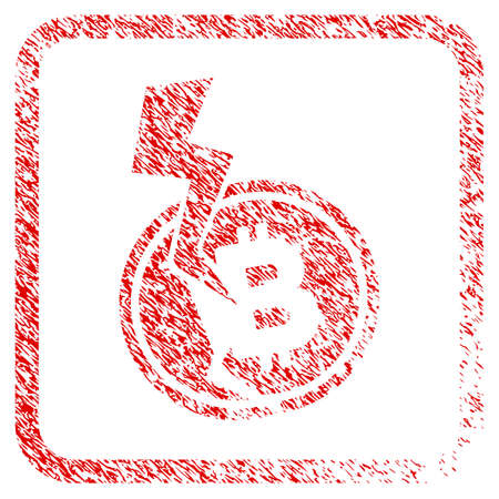 Bitcoin Crash Lightning rubber seal stamp imitation. Icon raster symbol with grunge design and dust texture inside rounded squared frame. Scratched red emblem of bitcoin crash lightning.