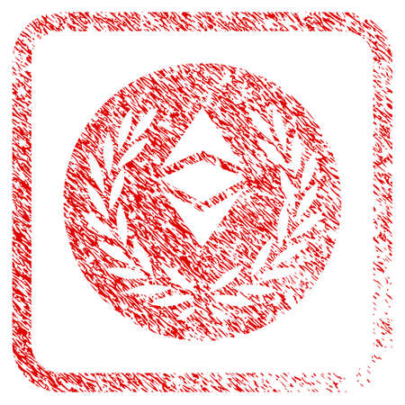 Ethereum Classic Laurel Coin rubber seal stamp imitation. Icon raster symbol with grunge design and corrosion texture inside rounded rectangle. Scratched red emblem of ethereum classic laurel coin.
