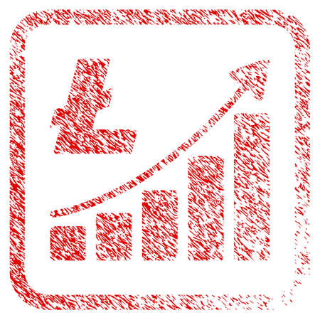 Litecoin Growth Trend rubber seal stamp watermark. Icon raster symbol with grunge design and dirty texture in rounded squared frame. Scratched red stamp imitation of litecoin growth trend. Stock Photo