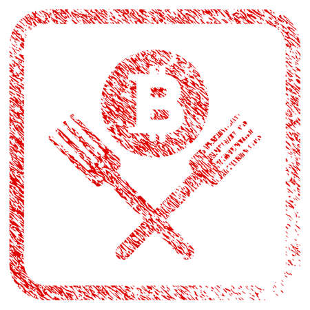 Bitcoin Forks rubber seal stamp watermark. Icon raster symbol with grunge design and corrosion texture in rounded rectangle. Scratched red emblem of bitcoin forks.