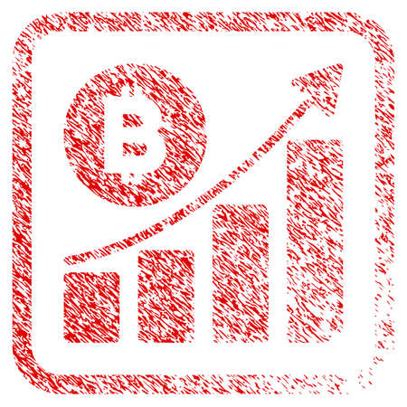 Bitcoin Growing Trend rubber seal stamp imitation. Icon raster symbol with grunge design and dirty texture in rounded squared frame. Scratched red emblem of bitcoin growing trend.