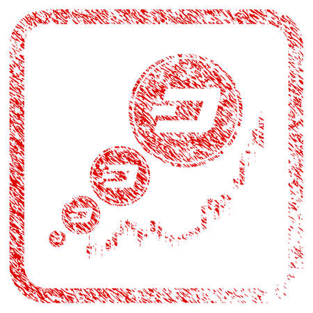 Dashcoin Inflation Chart rubber seal stamp imitation. Icon raster symbol with grunge design and dirty texture in rounded frame. Scratched red stamp imitation of dashcoin inflation chart.