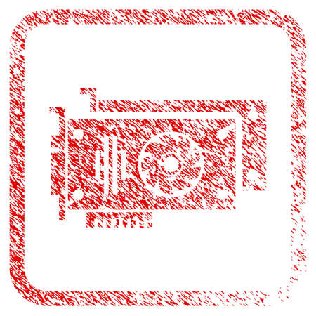Video Cards rubber seal stamp imitation. Icon raster symbol with grunge design and dirty texture in rounded squared frame. Scratched red emblem of video cards.