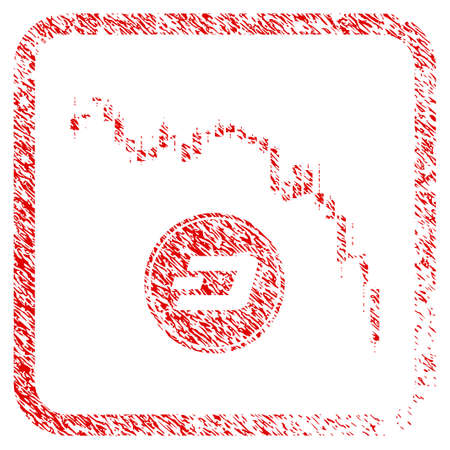 Dashcoin Panic Fall Chart rubber seal stamp watermark. Icon raster symbol with grunge design and unclean texture in rounded square frame. Scratched red sign of Dashcoin panic fall chart.