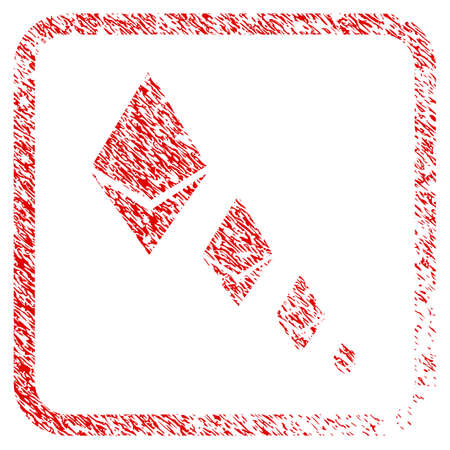 Ethereum Crystal Defaltion rubber seal stamp imitation. Icon raster symbol with grunge design and unclean texture in rounded rectangle. Scratched red stamp imitation of ethereum crystal defaltion.