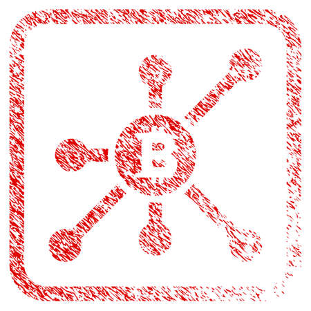 Bitcoin Node rubber seal stamp imitation. Icon raster symbol with grunge design and dust texture inside rounded squared frame. Scratched red sticker of bitcoin node. Imagens