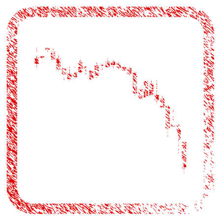 Candlestick Chart Down rubber seal stamp watermark. Icon raster symbol with grunge design and corrosion texture in rounded frame. Scratched red stamp imitation of Candlestick chart down. Banco de Imagens
