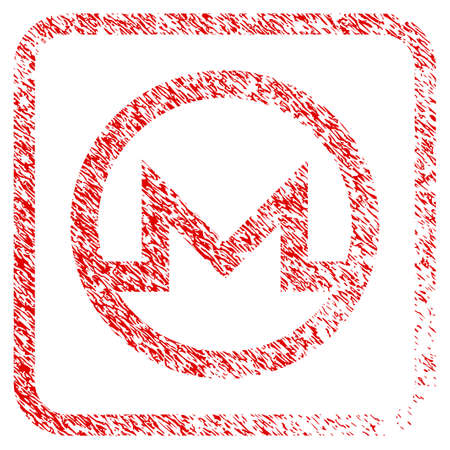 Monero Symbol rubber seal stamp watermark. Icon raster symbol with grunge design and corrosion texture in rounded square. Scratched red sign of monero symbol.