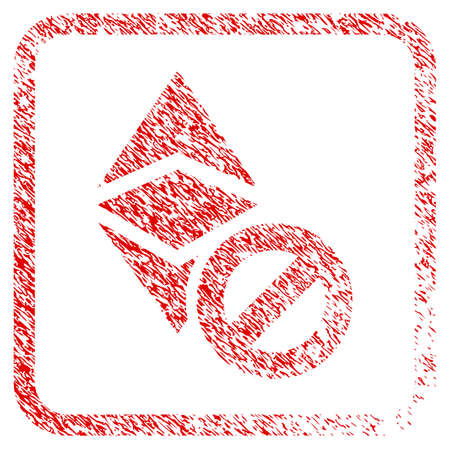 Forbidden Ethereum Classic rubber seal stamp imitation. Icon raster symbol with grunge design and corrosion texture in rounded square. Scratched red sign of forbidden ethereum classic. Stock Photo