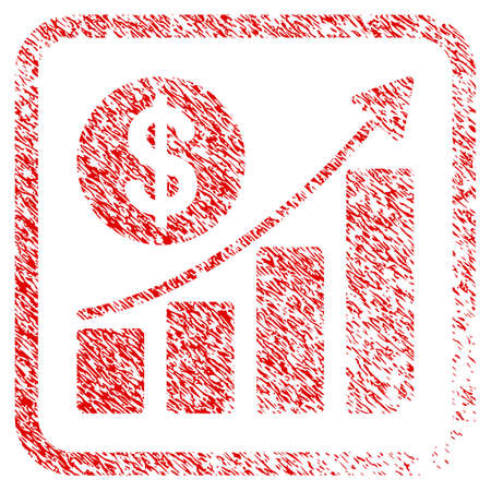 Dollar Growth Graph rubber seal stamp watermark. Icon raster symbol with grunge design and unclean texture inside rounded rectangle. Scratched red stamp imitation of dollar growth graph.