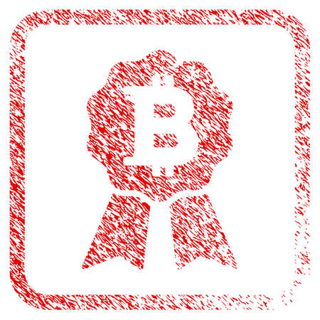 Bitcoin Certificate Seal rubber seal stamp imitation. Icon raster symbol with grunge design and dirty texture inside rounded squared frame. Scratched red emblem of bitcoin certificate seal.