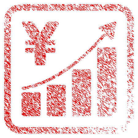 Yen Growth Trend rubber seal stamp watermark. Icon raster symbol with grunge design and dirty texture inside rounded rectangle. Scratched red sign of yen growth trend.