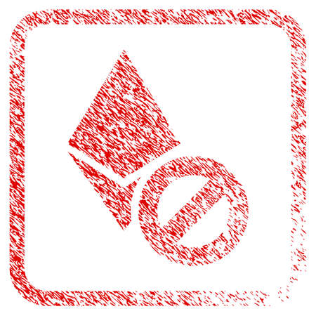 Forbidden Ethereum Crystal rubber seal stamp imitation. Icon raster symbol with grunge design and dust texture inside rounded square frame. Scratched red stamp imitation of forbidden ethereum crystal.