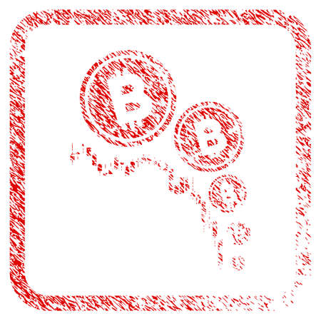Bitcoin Deflation Chart rubber seal stamp imitation. Icon raster symbol with grunge design and dust texture inside rounded square frame. Scratched red sticker of bitcoin deflation chart. Stock Photo