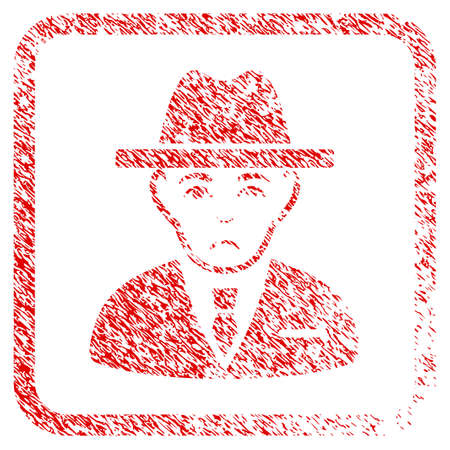 Agent rubber seal stamp imitation. Human face has mourning expression. Scratched red stamp imitation of agent. Icon symbol with grunge design and dirty texture inside rounded rectangle. Stock Photo
