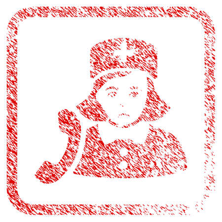 Receptionist Nurse rubber seal stamp watermark. Human face has affliction expression. Scratched red sticker of receptionist nurse. Stock Photo