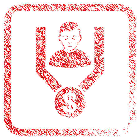 Sales Funnel Client rubber seal stamp imitation. Person face has sadness emotion. Scratched red stamp imitation of sales funnel client. Stock Photo
