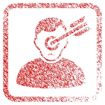 Target Man rubber seal stamp imitation. Human face has depression emotion. Scratched red stamp imitation of target man. Icon symbol with grunge design and dirty texture inside rounded square.