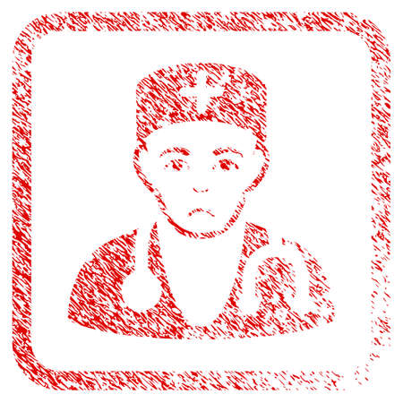 Physician rubber seal stamp watermark. Human face has stress emotions. Scratched red sign of physician. Icon symbol with grunge design and dirty texture in rounded rectangle. Stock Photo
