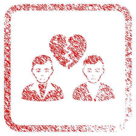 Divorce Gays rubber seal stamp watermark. Person face has unhappy sentiment. Scratched red emblem of divorce gays. Icon symbol with grunge design and dirty texture in rounded frame.