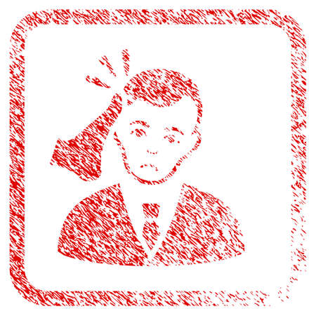 Kickboxer Victim rubber seal stamp watermark. Person face has depressed emotions. Scratched red sign of kickboxer victim.