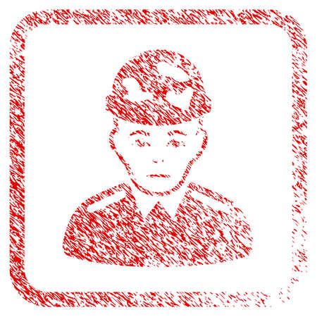 Soldier rubber seal stamp imitation. Human face has dolour sentiment. Scratched red sticker of soldier. Icon symbol with grunge design and dust texture inside rounded frame.