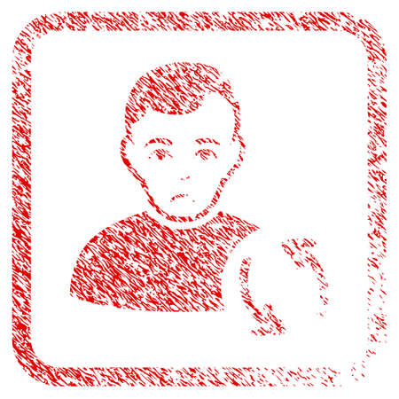 User Refresh rubber seal stamp watermark. Person face has stress emotion. Scratched red sticker of user refresh. Icon symbol with grunge design and corrosion texture in rounded frame. Stock Photo